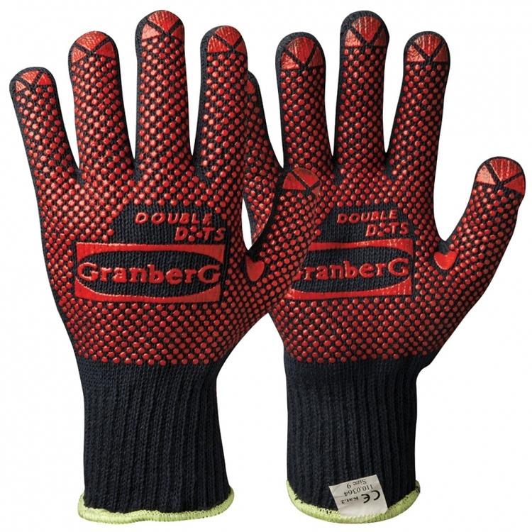 Granberg® stickade handskar i bomull med vinyl/PVC-noppor. 110.0364