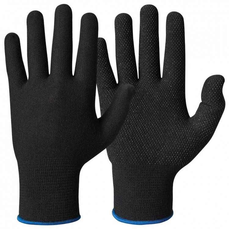 Granberg® Svarta bomullshandskar med Lycra® och mikronoppor i vinyl/PVC. 110.0484