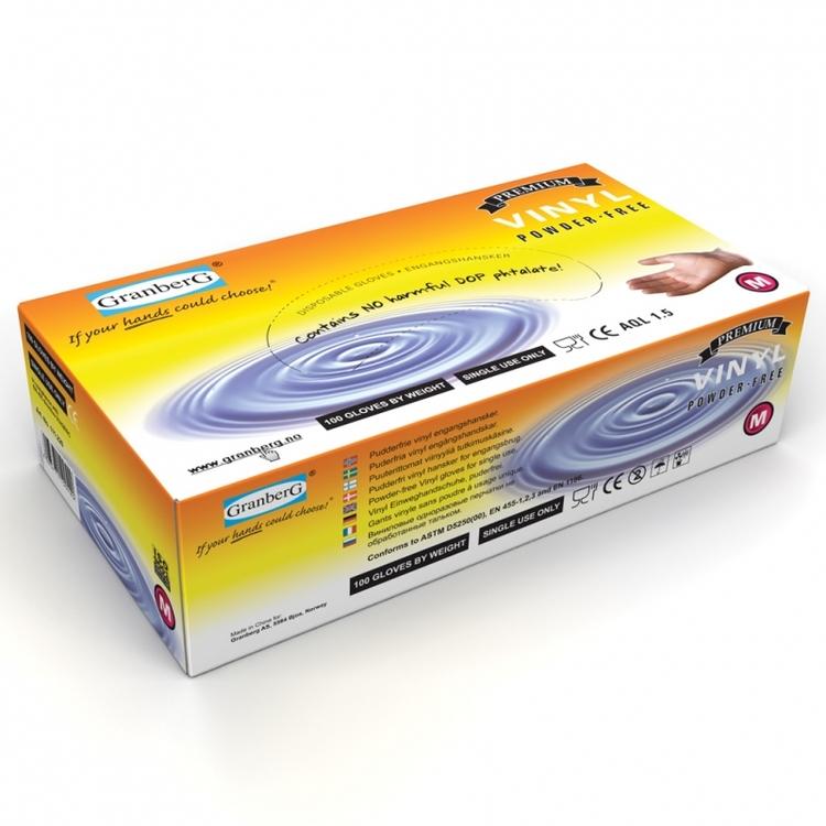Granberg® engångshandskar i vinyl, puderfria. 111.220