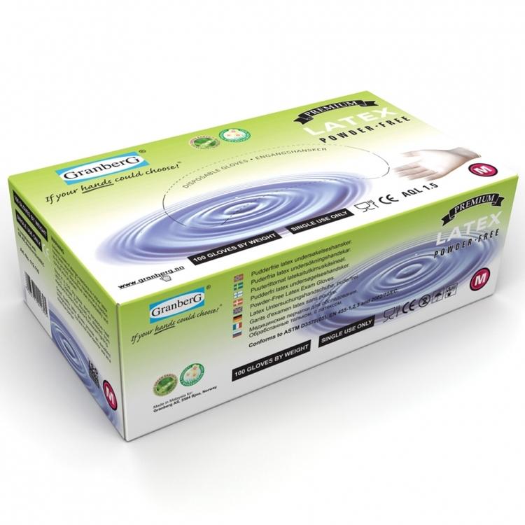 Granberg® engångshandskar i latex, puderfria. 112.110