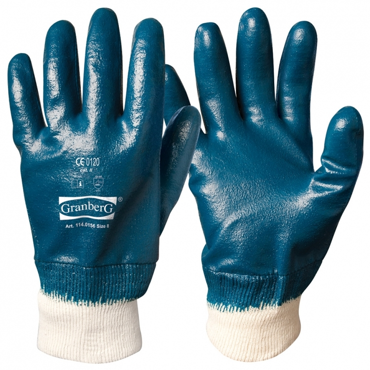 12-pack Granberg® arbetshandskar med mudd heldoppade med nitrilöverdrag