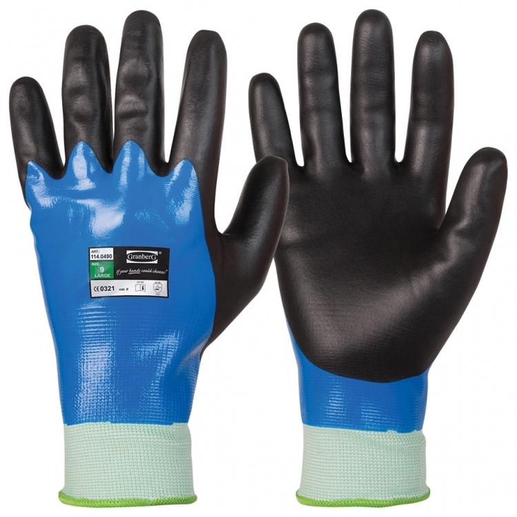 Granberg® 12-pack montagehandskar med dubbel nitrilbeläggning, vattentäta. 114.0490