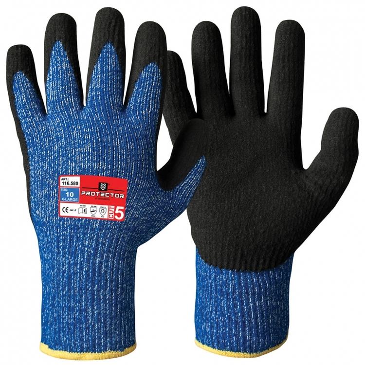Protector® 12-pack skärskyddshandskar i Typhoon®-fiber med sandaktig nitrilbeläggning, vinter. 116.580