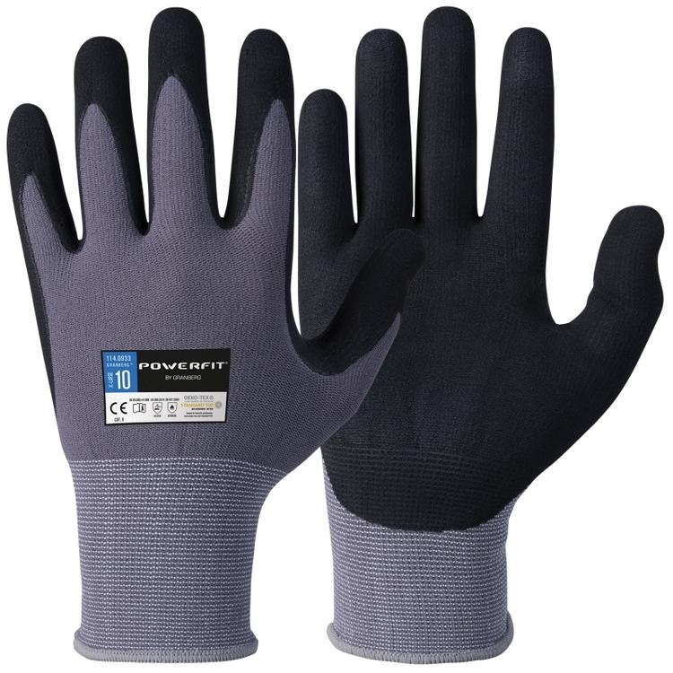 12-pack Montagehandskar med nitrilskumbeläggning. Oeko-Tex®
