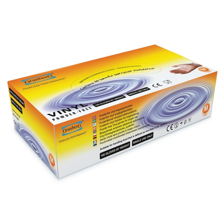 100-pack Granberg® Engångshandskar i vinyl, puderfria