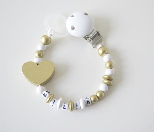 Napphållare - Stora hjärtat i guld