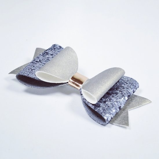 Rosettclips med glitter  - Silver/lavendel
