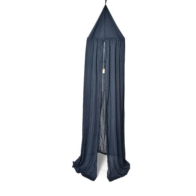 Sänghimmel med pompom - Marinblå