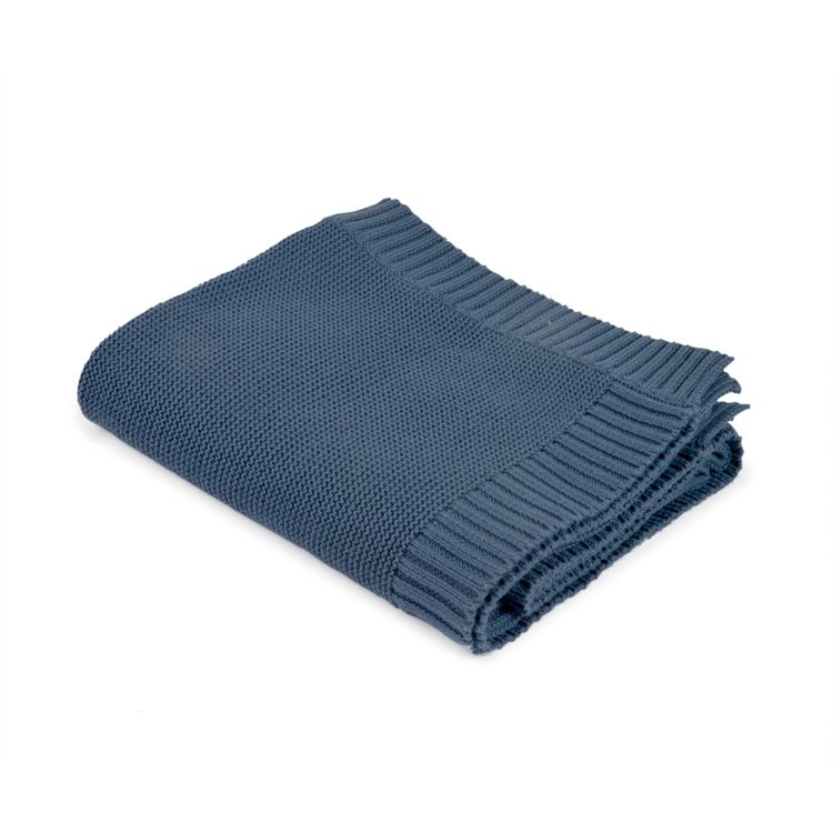 Filt - Marinblå stickad med ribbad kant