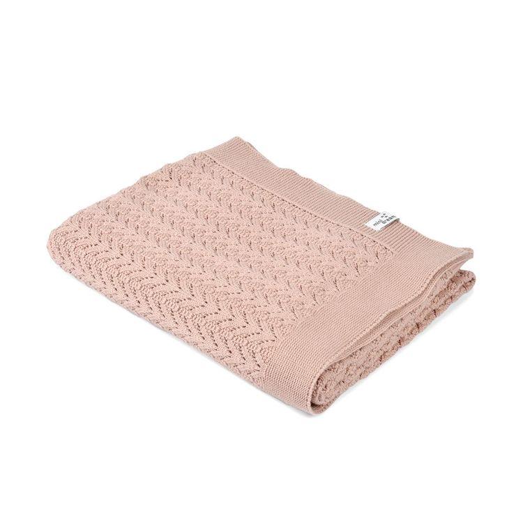 Stickad filt - Lace rosa