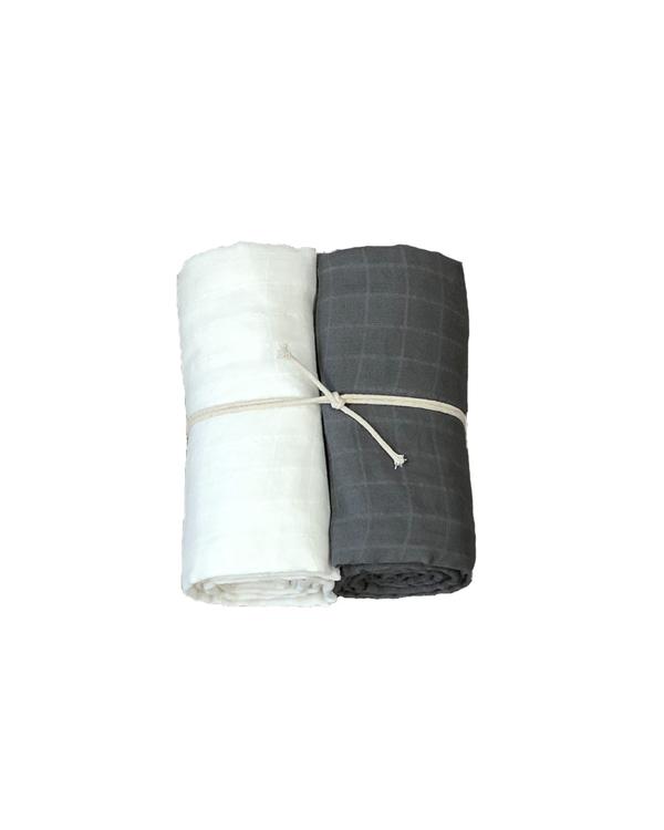 Muslinfilt 2-pack Grå/vit