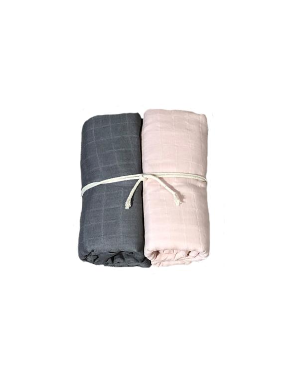 Muslinfilt 2-pack - Rosa/grå