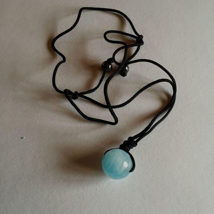 Halsband rund pärla turkos