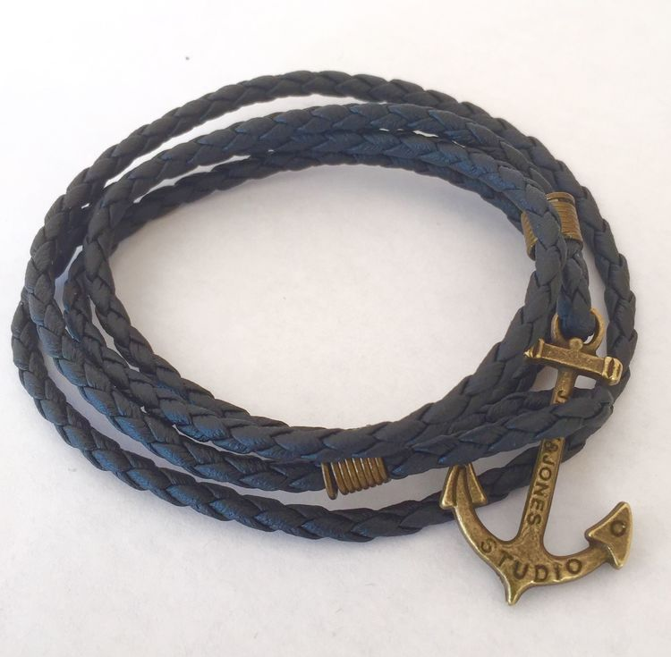 Vintage ankare armband svart
