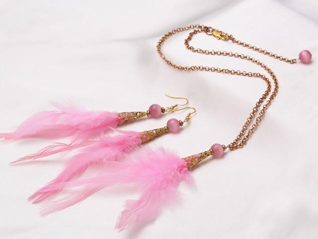 Fjäderset halsband+örhängen Rosa