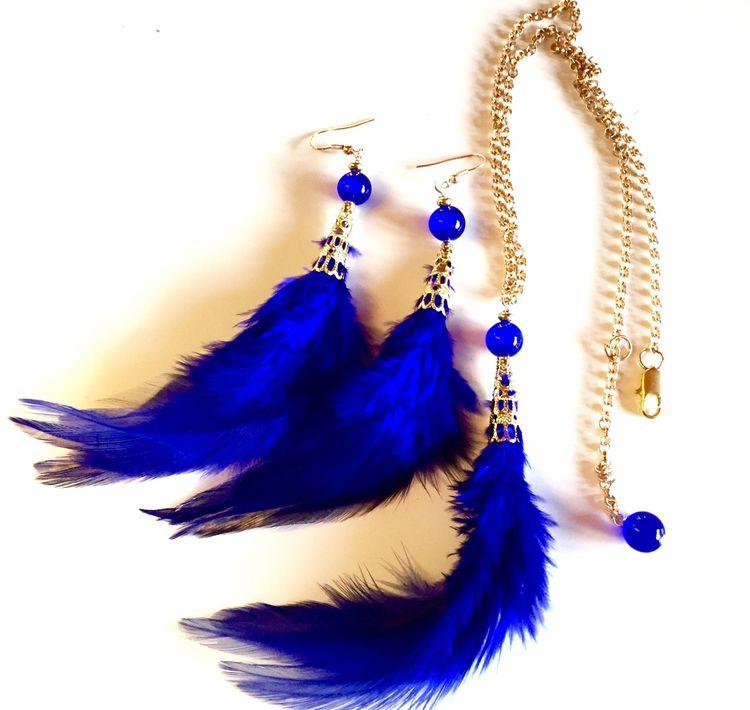 Fjäderset halsband+örhängen Blå