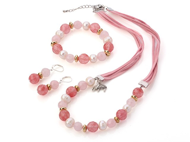 Fashion Rosa Halsband + Armband + örhängen