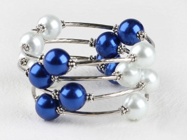 Armband kulspiral blå & vit