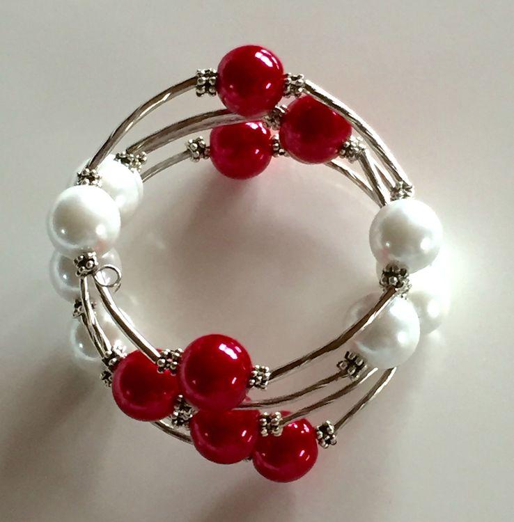 Armband kulspiral Röd & Vit