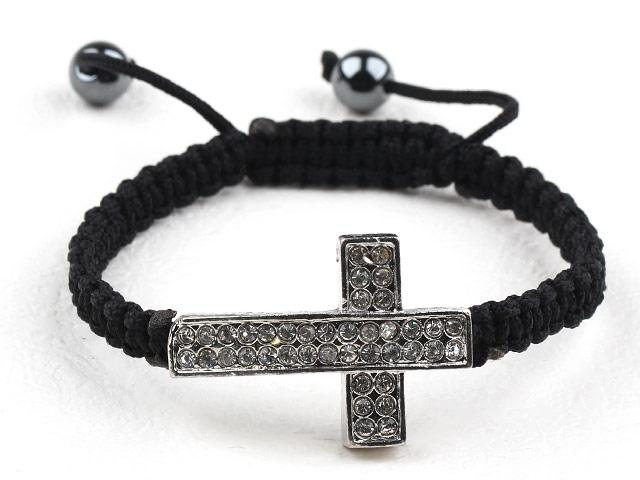 Kors-armband Svart/Silver