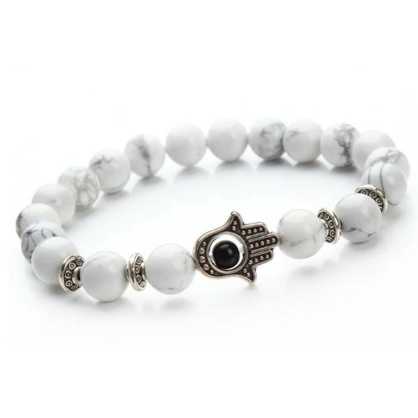 White Hamsa Silver Armband (rea)