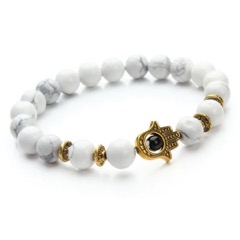 White Hamsa Gold