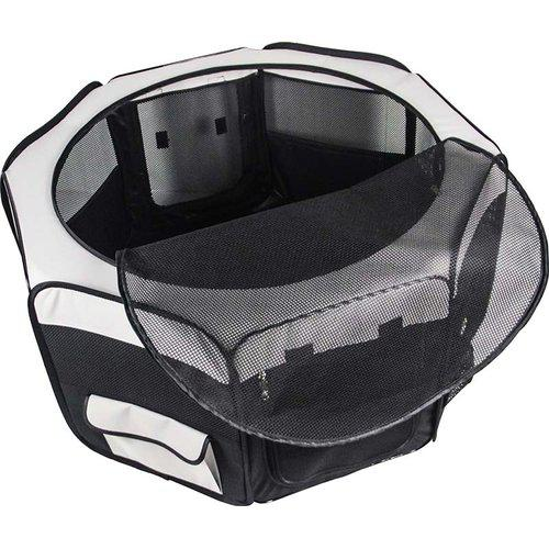 Hundhage nylon rund svart/grå 116x116x48 cm
