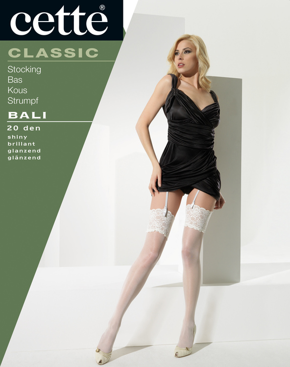 Bali stocking vit med bred spetskant 20 den XL