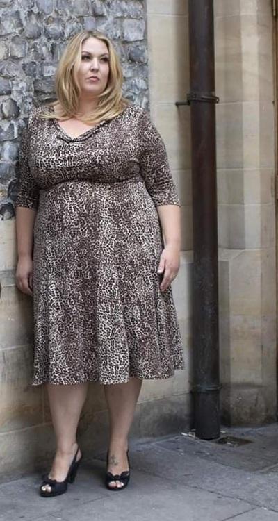 klänning leopard plus size stor storlek