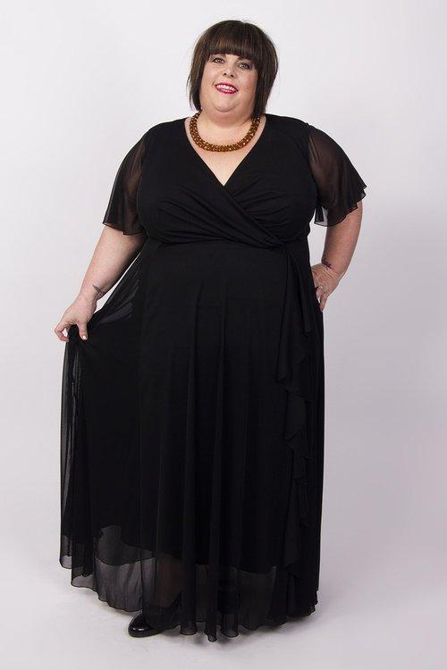 långklänning svart plus size stor storlek för maxidress