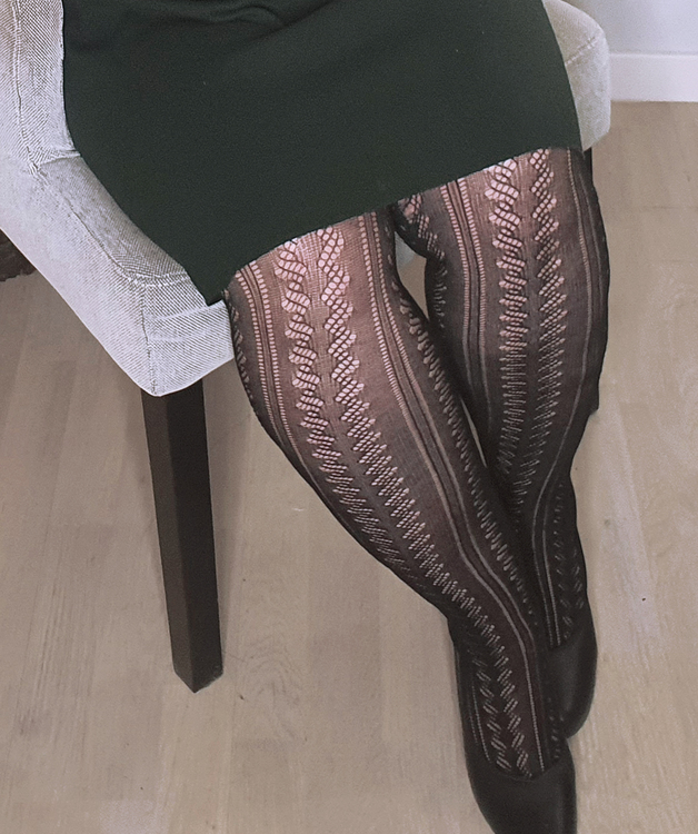 Strumpbyxa i bomull med stickat mönster 40 den XL Avignon