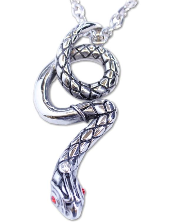 Halsband Big snake red stones