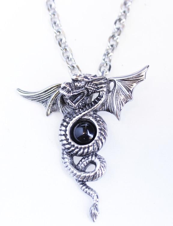 Halsband Dragon black stone