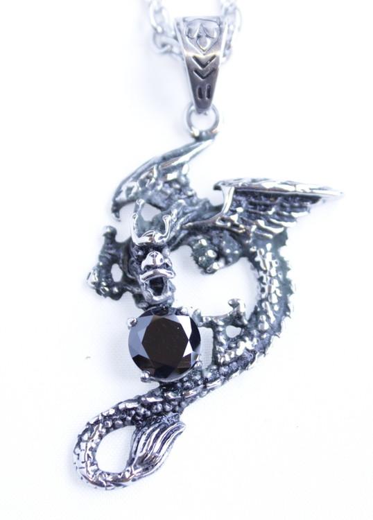 Halsband Dragon/black stone