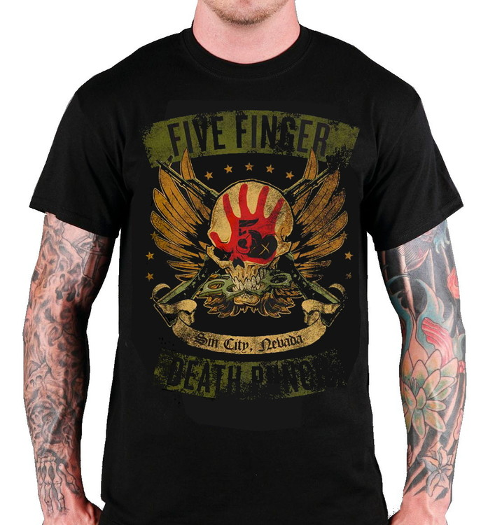 """Five finger death punch """"Looked & loaded"""" T-shirt"""