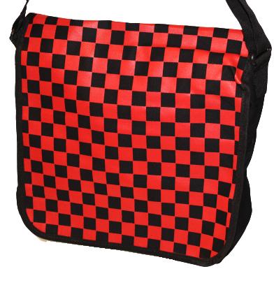 Axelväska Röd/svart rutig