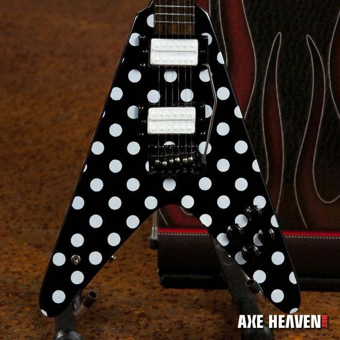 "Randy Rhoads ""Harpoon"" Polka Dot V Miniature Guitar with white amp"