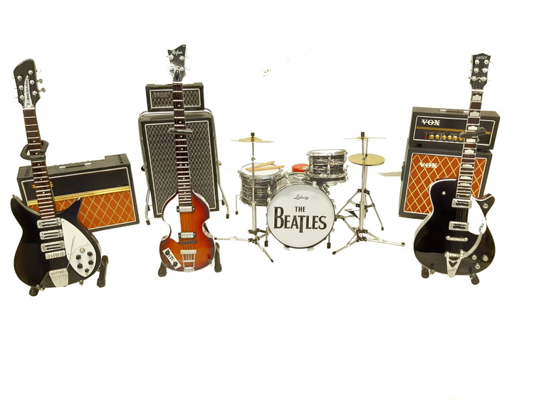 Set of Beatles instruments and amps