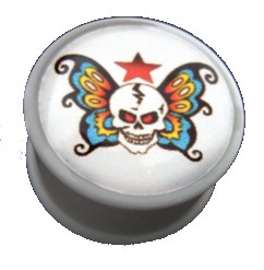 Akrylplugg Skull/wings 6-20mm