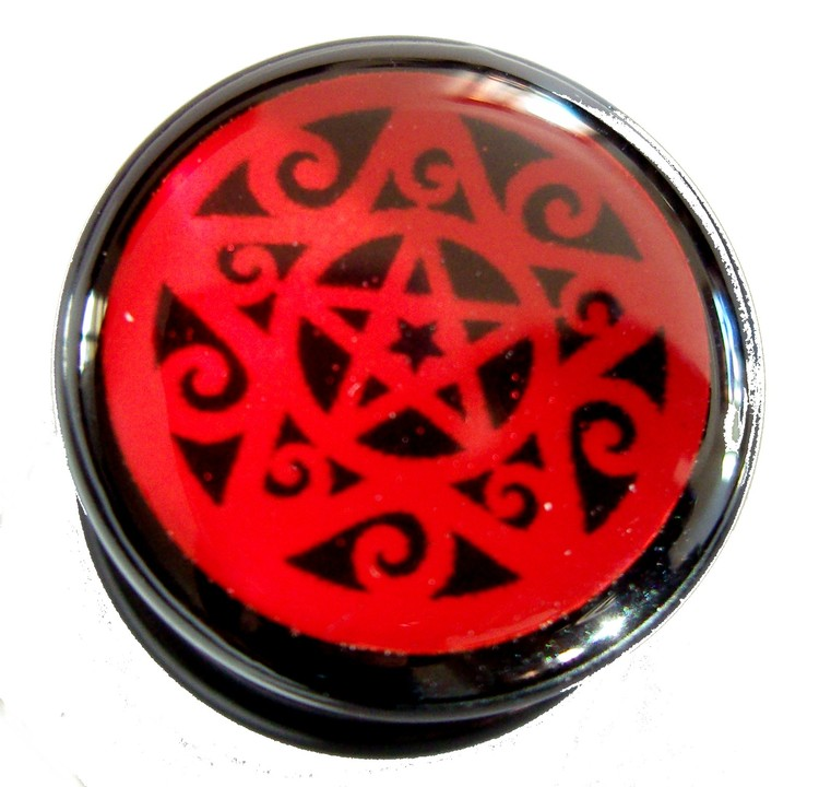 Akrylplugg Red pentagram 6-20mm