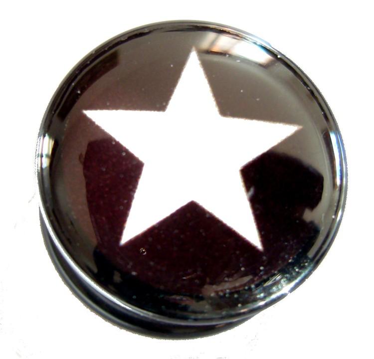 Akrylplugg White star 6-18mm