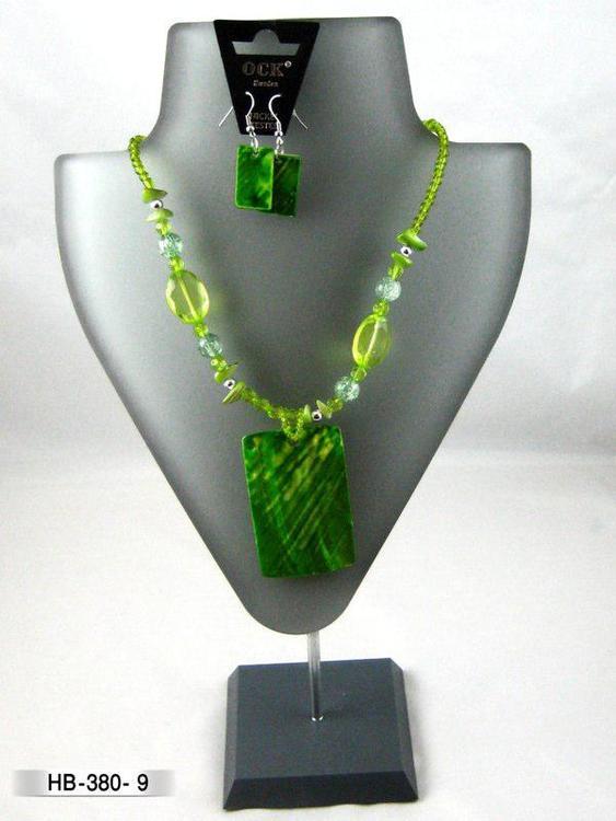 Halsband snäckskal med örhänge, grön