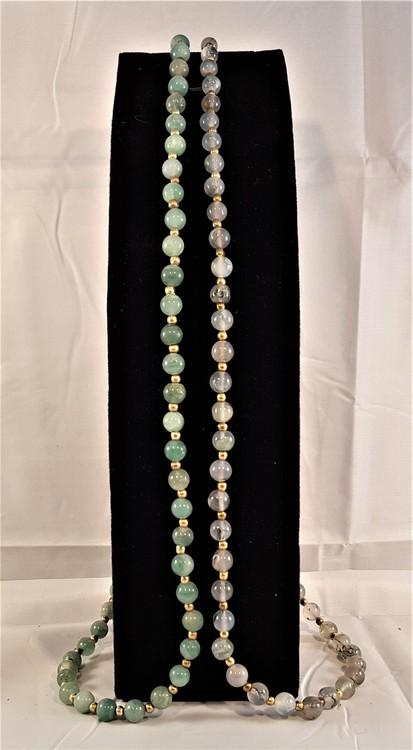Halsband mossfärgad agat och grön agat