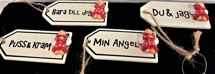 Söta små skyltar i trä med text och ängel, x1