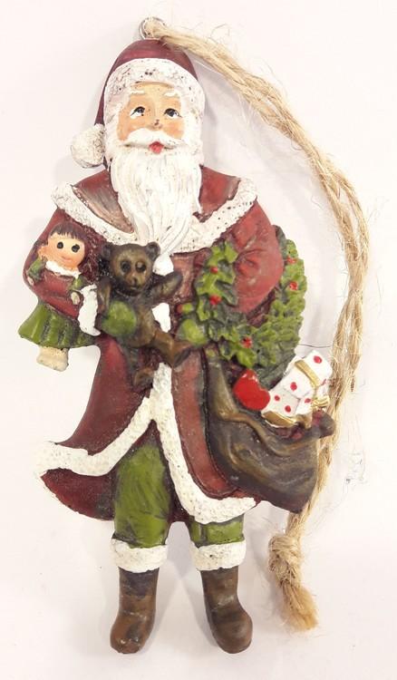 Julpynt, jultomte med säck, med snöre