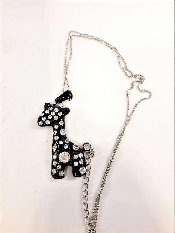 Halskedja med svart giraff och strass, 2 varianter