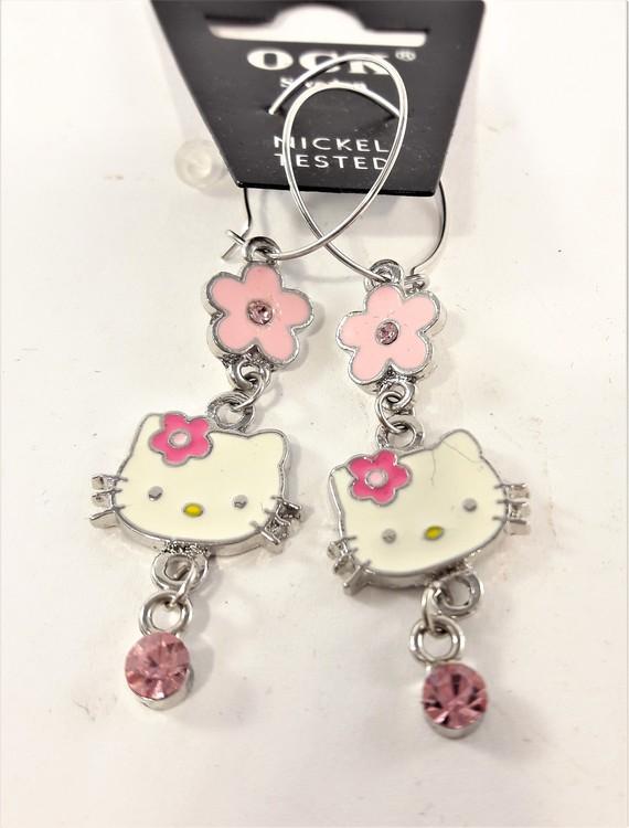 Örhänge med små Hello Kitty-huvud och sten