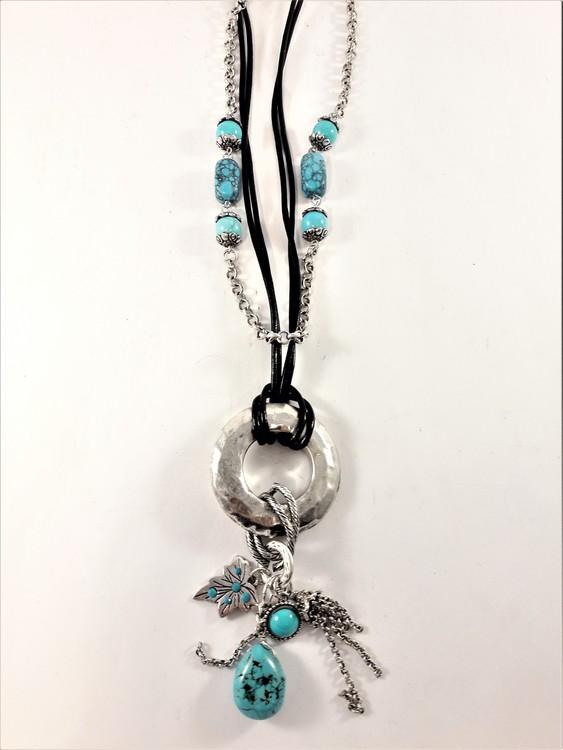 Halsband i läder och kedja, stenar och detaljer i silverfärg och blått