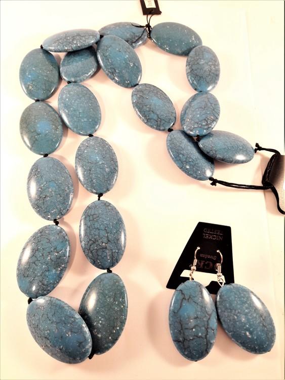 Halsband och örhänge med stora polerade stenar, blå