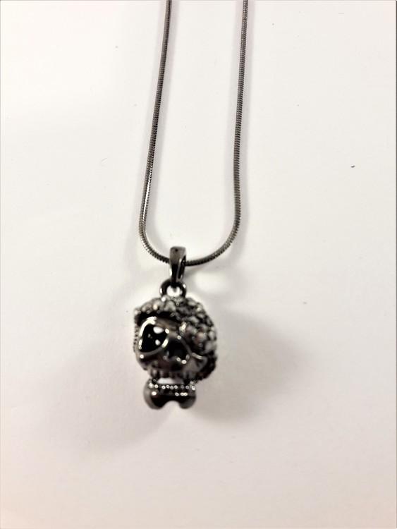 Halsband med glittrande dödskalle, grå